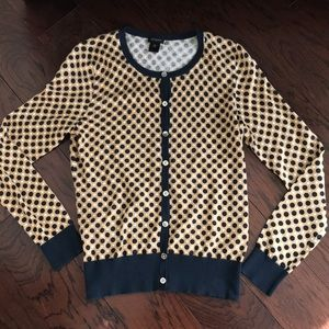 NWOT Ann Taylor Navy and Tan Cardigan Sweater M